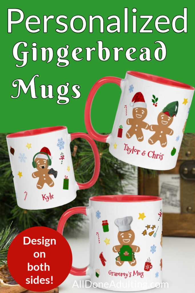 Cute Personalized Gingerbread Christmas Mugs All Done Adulting