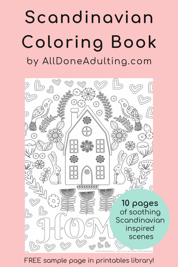 Scandinavian Printable Coloring Pages {Free Sample} - All Done Adulting